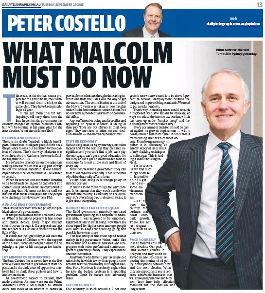 Peter Costello in the Daily Telegraph