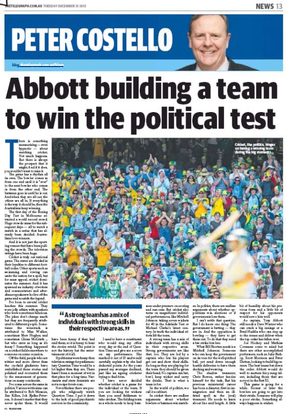 Abbott building a team to win the political test