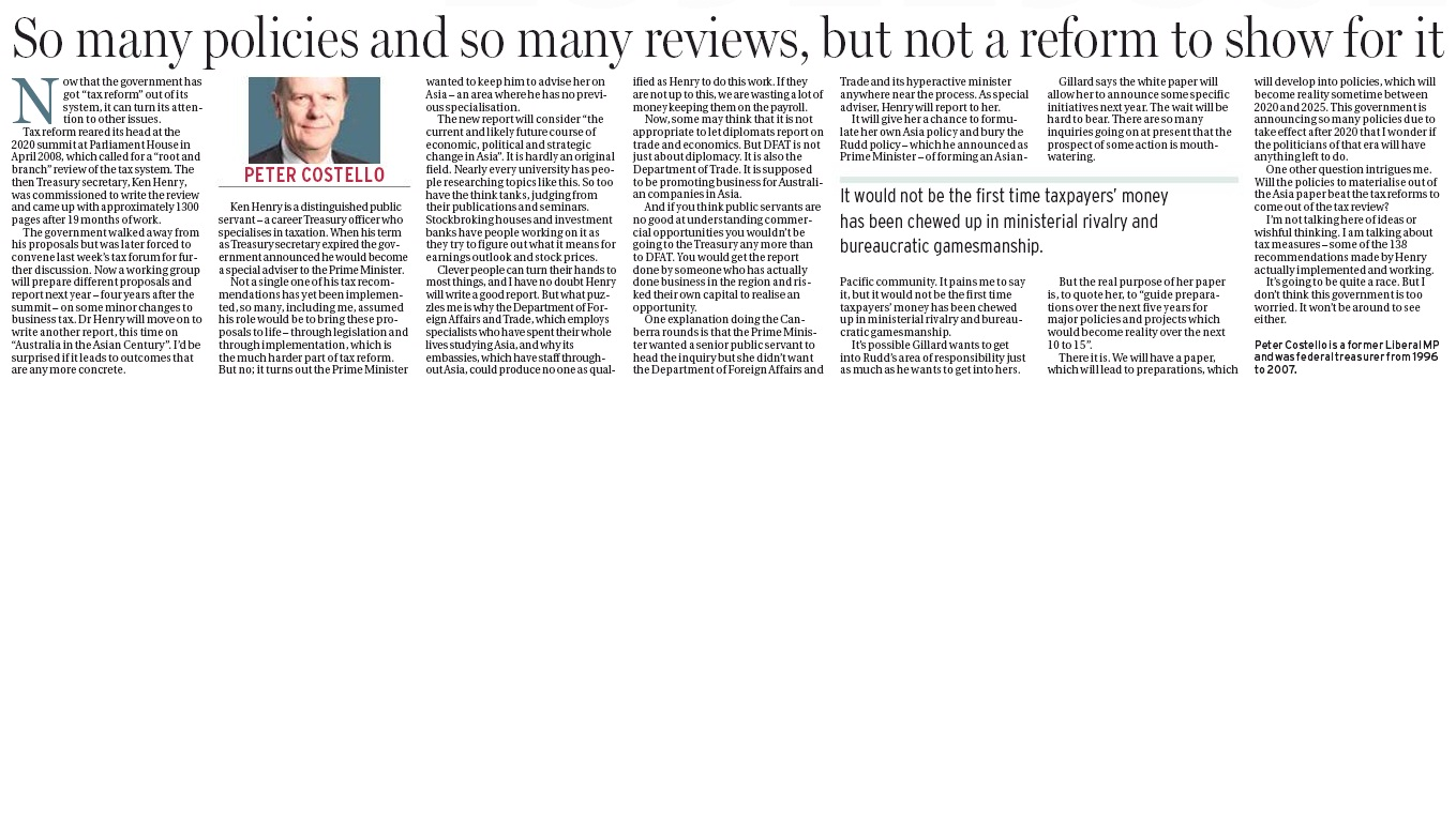 Peter Costello - So many policies and so many reviews, but not a
